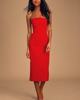 Isn't It Iconic Red Strapless Bodycon Midi Dress
