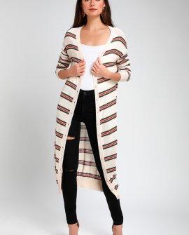 It's All Good Beige Striped Midi Cardigan Sweater