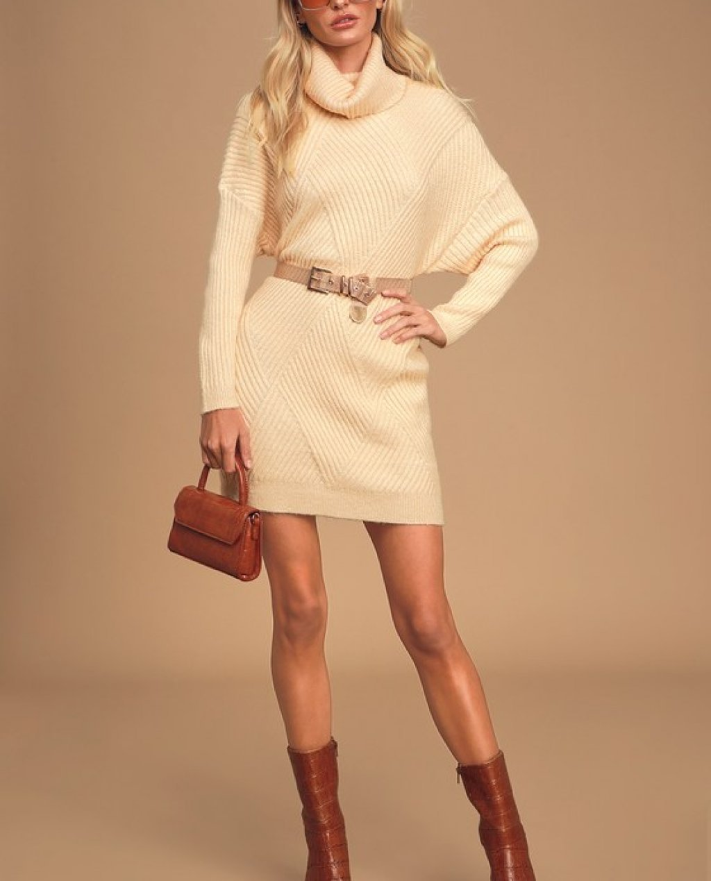 Its Charming Cream Ribbed Knit Turtleneck Sweater Dress