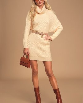 It's Charming Cream Ribbed Knit Turtleneck Sweater Dress