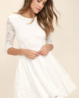 It's a New Day White Lace Skater Dress