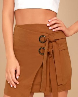 J.O.A. Modern Masterpiece Light Brown Wrap Mini Skirt