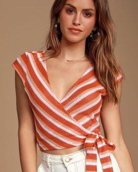 Jackielyn Orange Multi Striped Wrap Crop Top
