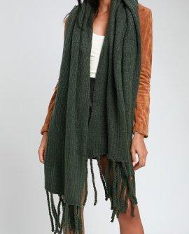 Jaden Green Ribbed Fringe Blanket Scarf