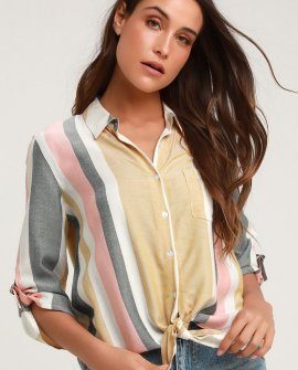 Jaquelyn White Multi Striped Button-Up Tie-Front Top