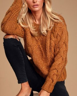 Jaylene Rust Brown Cable Knit Sweater