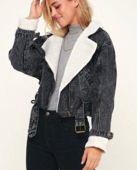 Jefferson Washed Black Sherpa Denim Jacket
