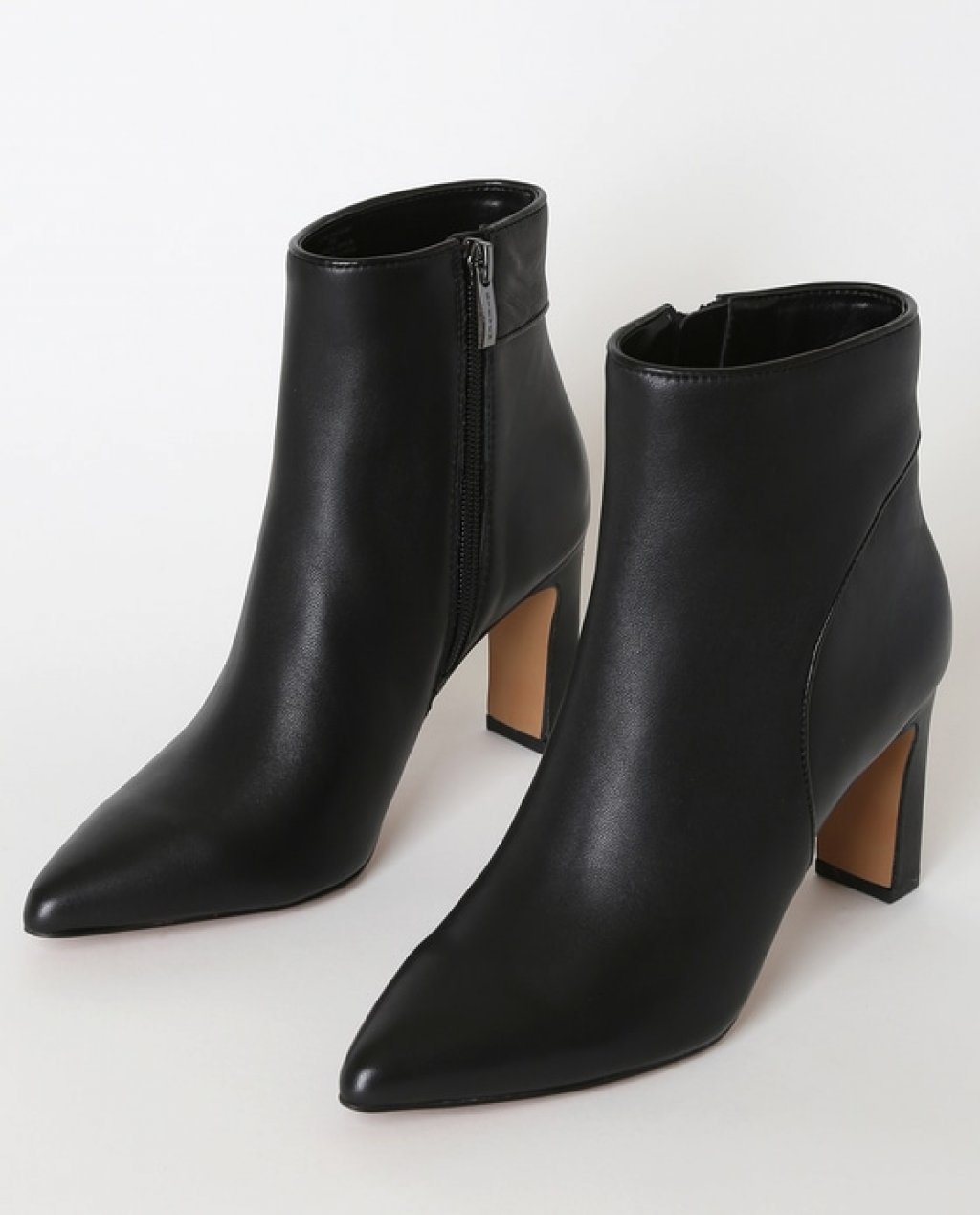 Jenn Black Leather Pointed-Toe Ankle Booties