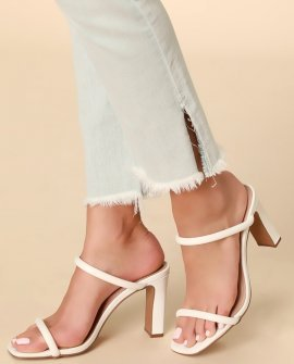 Jersey White Leather High Heel Sandal Heels