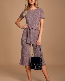 Jesamin Heather Burgundy Knit Tie-Front Culotte Jumpsuit