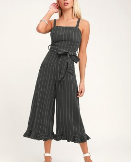 Jessica Washed Navy Blue Striped Culotte Jumpsuit