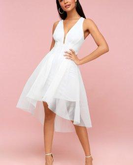 Jewel White Mesh High-Low Dress