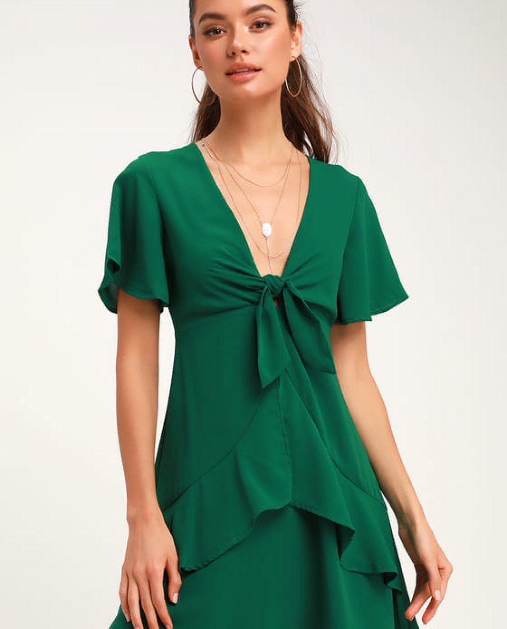 Jewell Green Tie-Front Ruffled Skater Dress