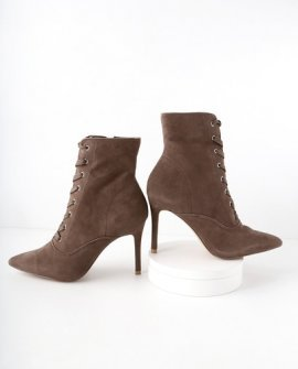 Jinx Taupe Suede Leather Lace-Up High Heel Booties
