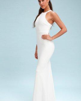 Joella White Lace Halter Maxi Dress