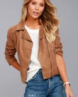 Johanness Tan Suede Moto Jacket