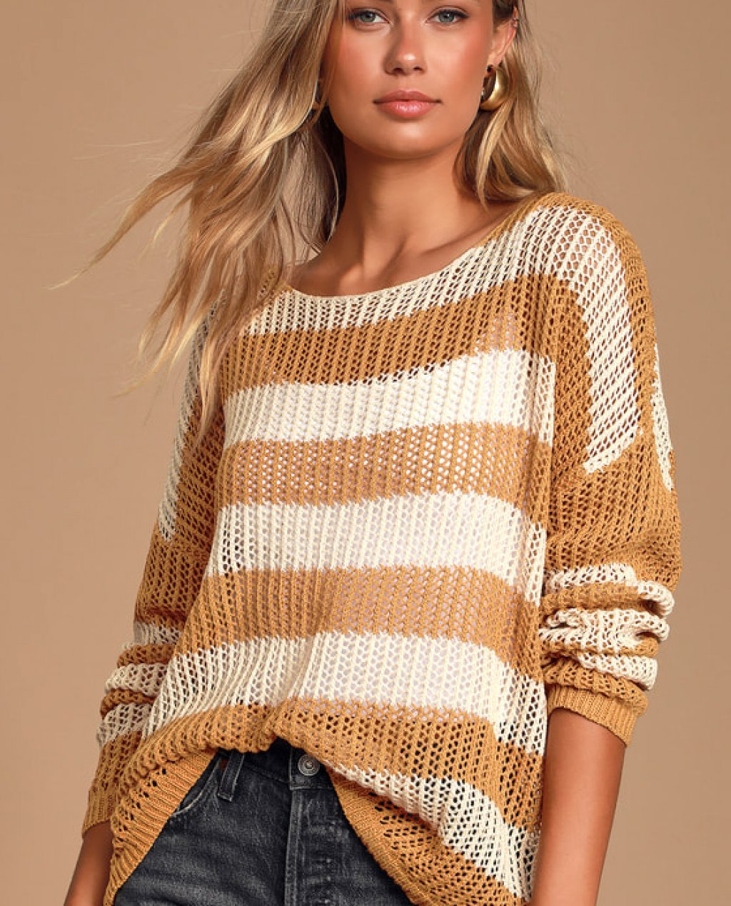 Jordana Cream and Camel Striped Loose Knit Sweater