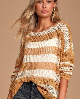 Jordana Cream and Camel Striped Loose Knit Sweater