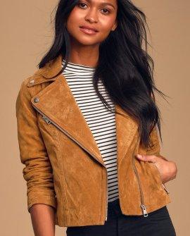 Joy Ride Tan Genuine Suede Leather Moto Jacket