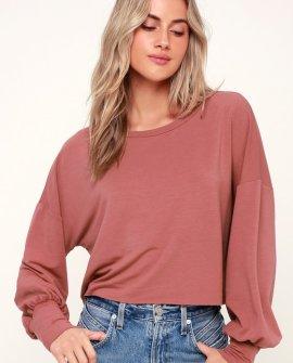 Julian Mauve Pink Balloon Sleeve Sweater Top