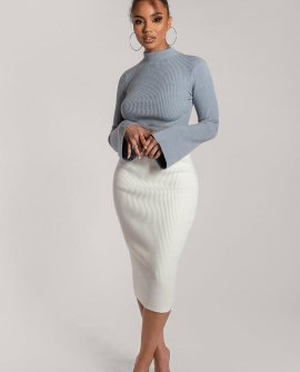 Juliana Cross Detail Balloon Sleeve Knitted Jumper - Dusty Blue