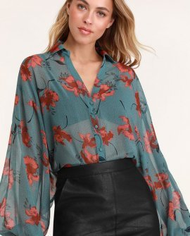 Juliet Dusty Sage Floral Print Long Sleeve Top