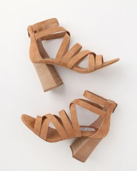 July Tan Suede Leather Caged High Heel Sandal Heels