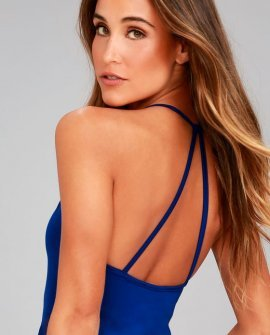 Just Dance Royal Blue Sleeveless Bodysuit