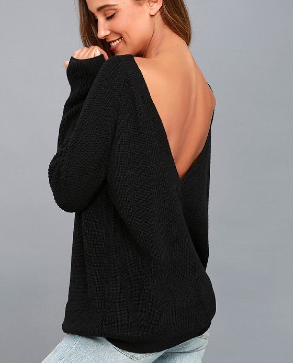 Just For You Black Backless Sweater