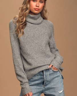 Just Getting Warmed Up Heather Grey Knit Turtleneck Sweater