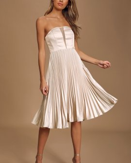 Just Like a Movie Champagne Strapless Pleated Midi Dress