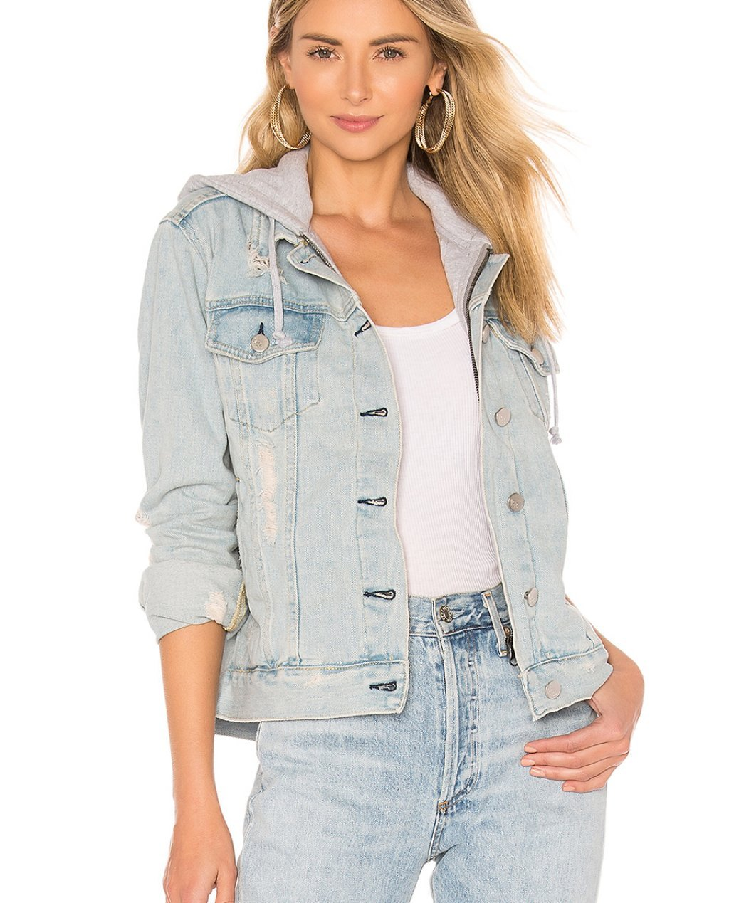 KENDALL + KYLIE Destructed Denim Trucker Jacket