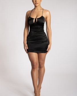 Kaela Ruched Front Tie Up Mini Dress