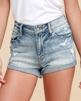 Kara Light Wash Distressed High-Waisted Denim Shorts