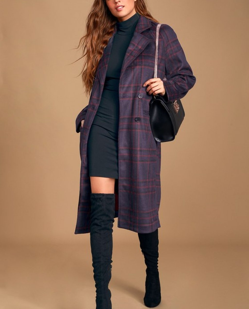 Karalissa Dark Purple Plaid Coat