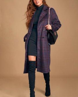 Karalissa Dark Purple Plaid Coat