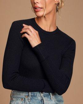 Karlee Black Ribbed Knit Long Sleeve Sweater Top