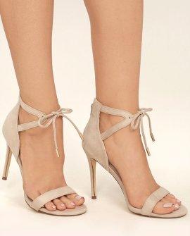Kate Nude Suede Ankle Strap Heels