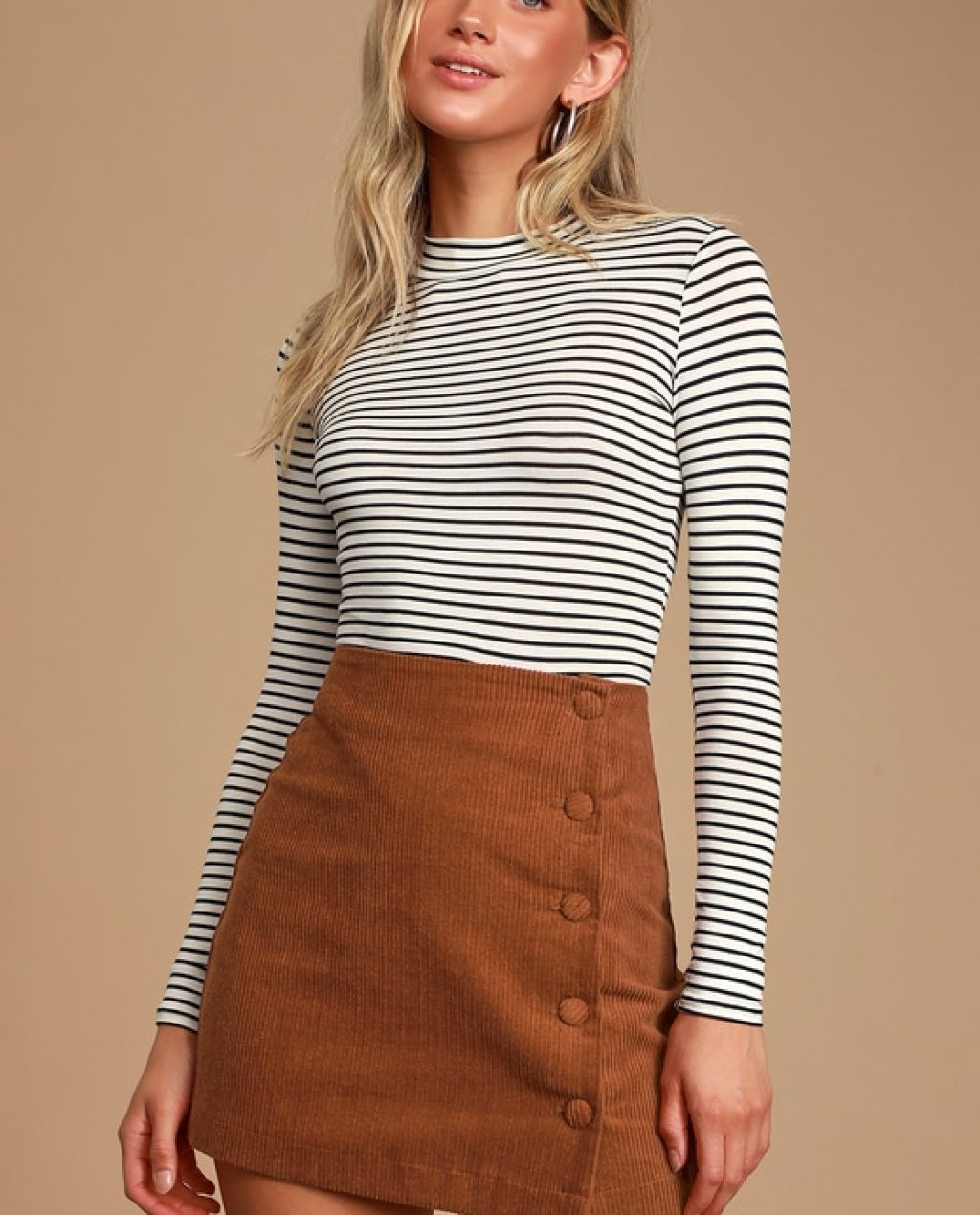 Katherina Rust Brown Button Front Corduroy Skirt