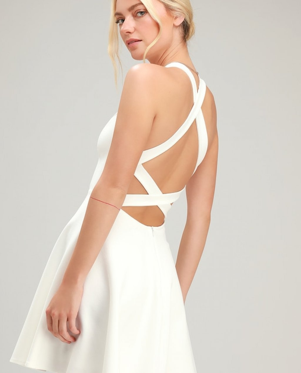 Katrina White Strappy Backless Skater Dress