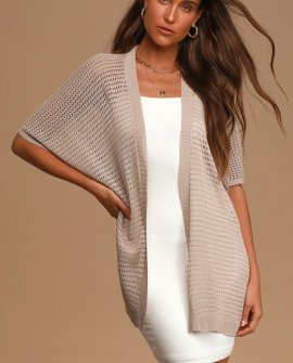 Keep It Breezy Taupe Loose Knit Short Sleeve Cardigan Sweater