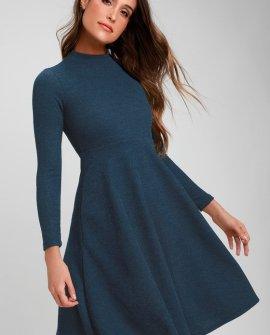 Keep It Classic Navy Blue Mock Neck Midi Skater Dress