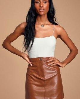 Keep Livin Rust Brown Vegan Leather Mini Skirt
