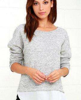 Keep Me Company Grey Sweater Top