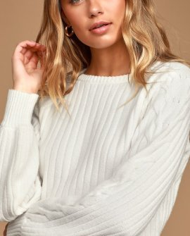 Keep in Touch White Ribbed Knit Balloon Sleeve Sweater