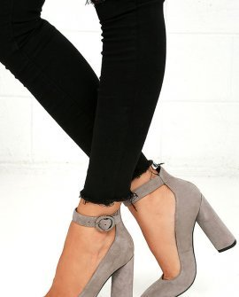 Kendall + Kylie Gloria Light Grey Suede Leather Heels
