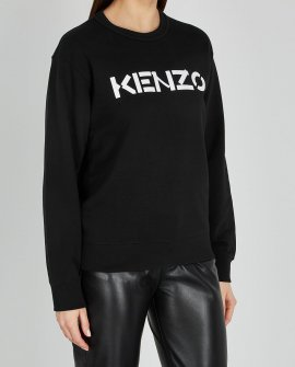 Kenzo Black logo-print cotton sweatshirt