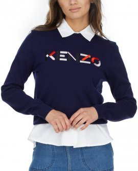 Kenzo Multicolored Logo Knit Pullover Sweater - Navy Blue
