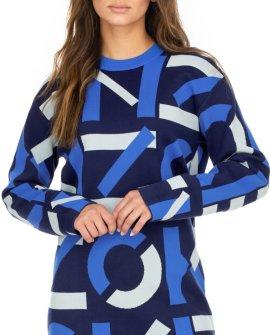 Kenzo Sport Monogram Jacquard Sweater Dress - Midnight Blue