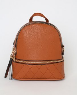 Khloe Tan Pebbled Mini Backpack